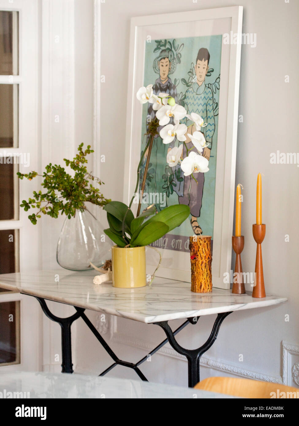 White Orchid On Dining Room Side Table