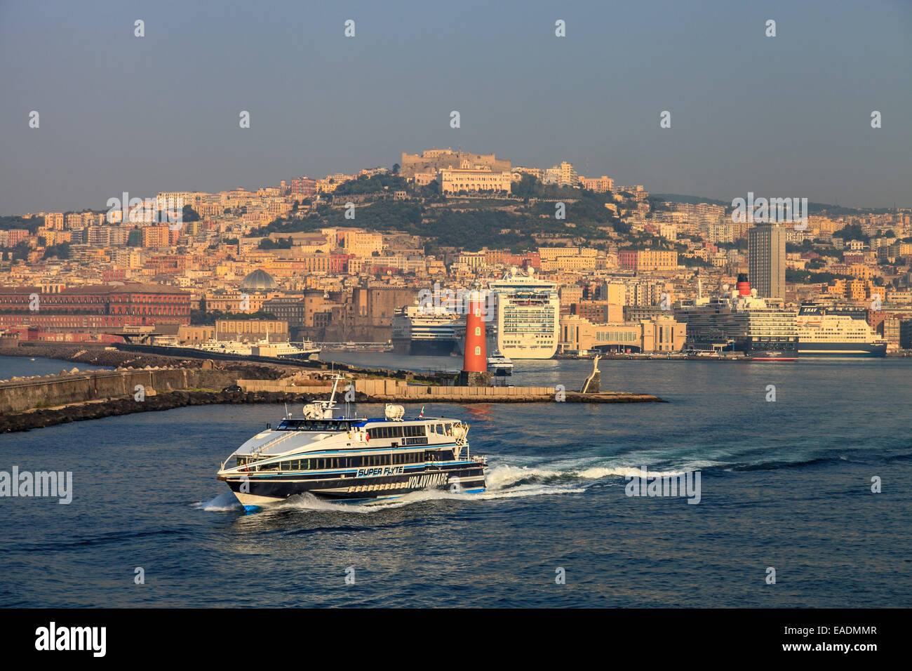 Panorama of the port of Naples - Stock Image