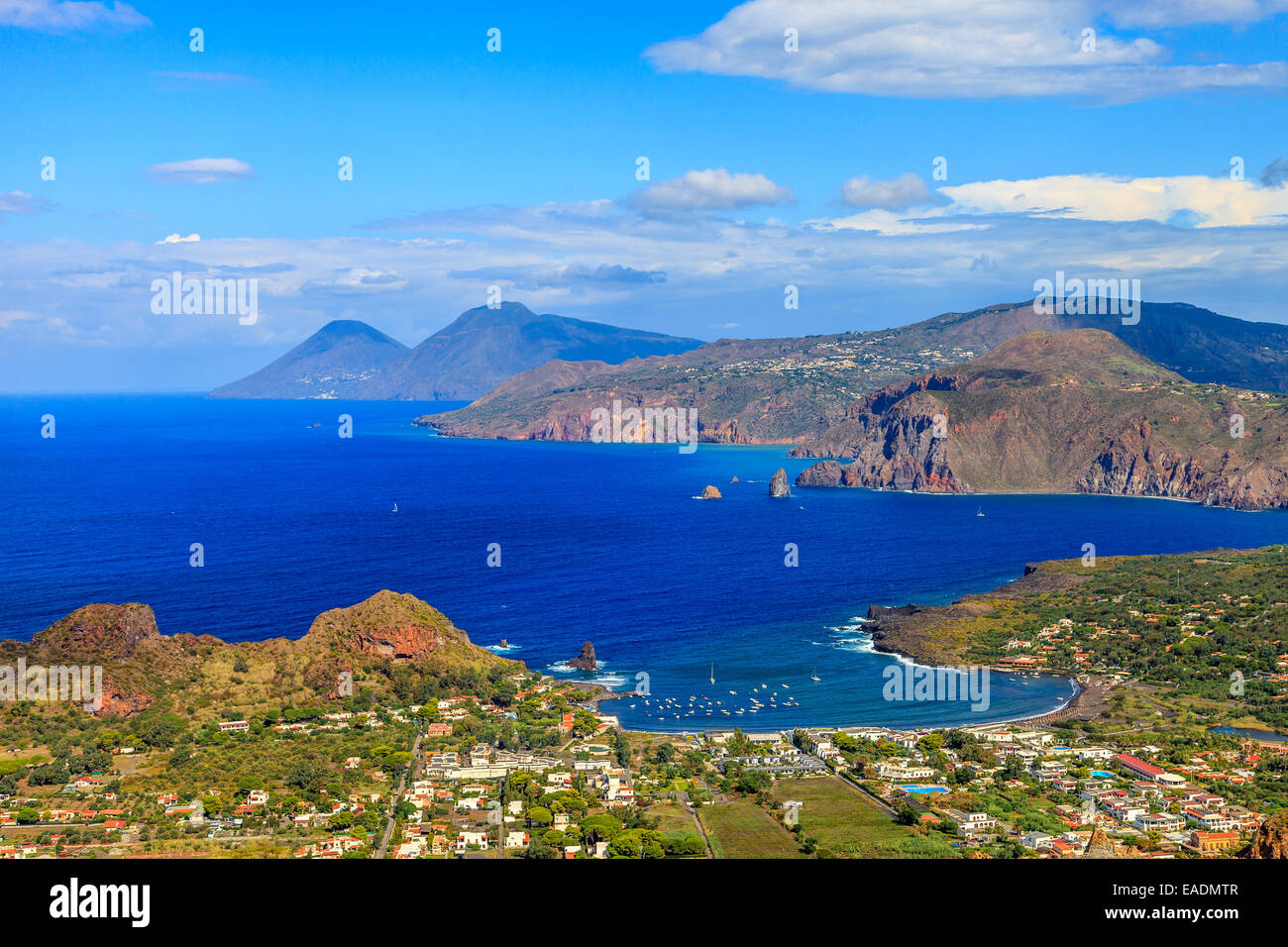 Panoramic view of the Aeolian islands Lipari, Salina from  Vulcano - Stock Image