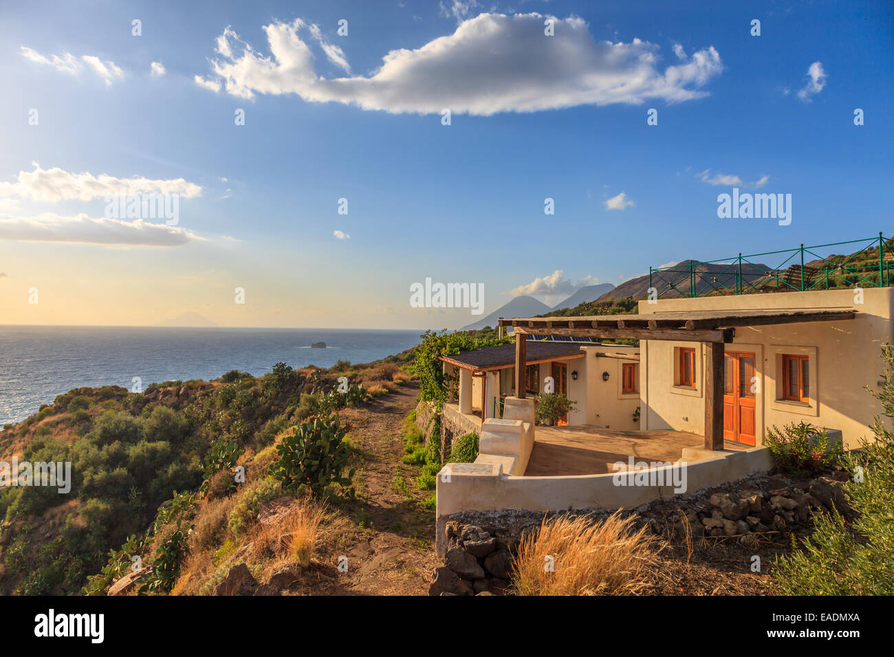 Aeolian house with a beautiful sea view - Stock Image