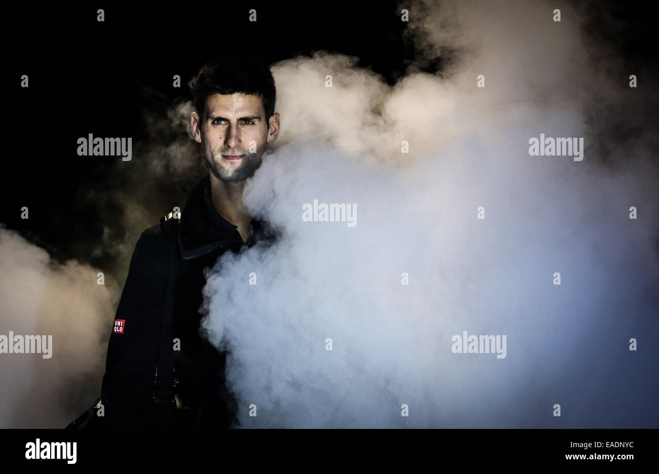 London, UK. 12th Nov, 2014. Novak Djokovic of Serbia walks into the court before the ATP World Tour Finals Group - Stock Image