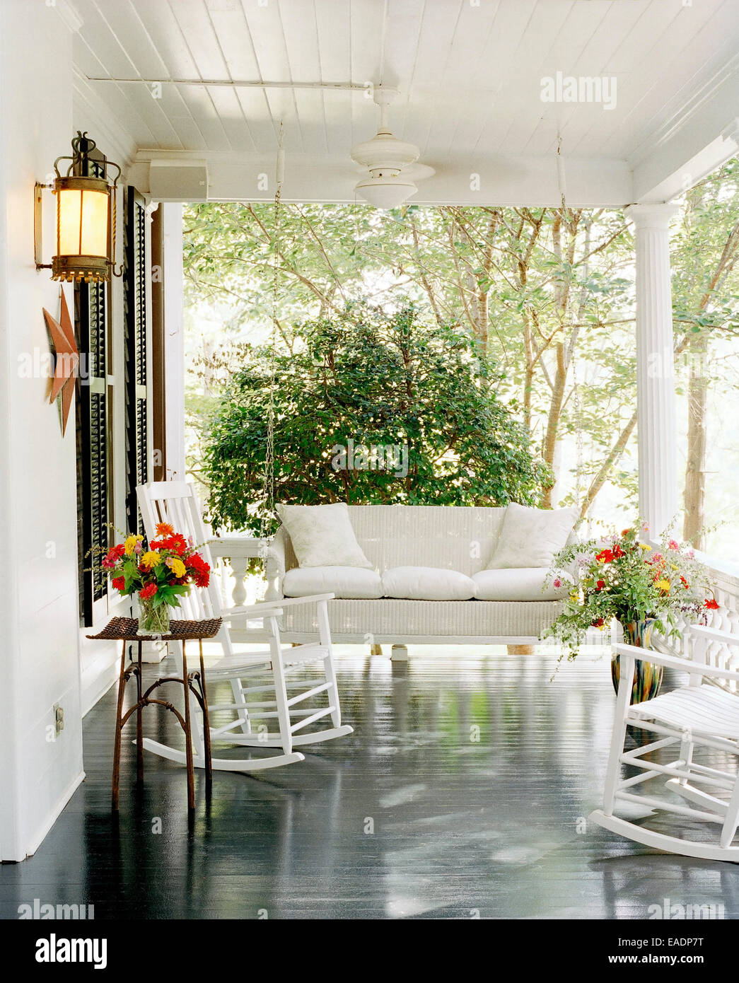 white porch in American South - Stock Image