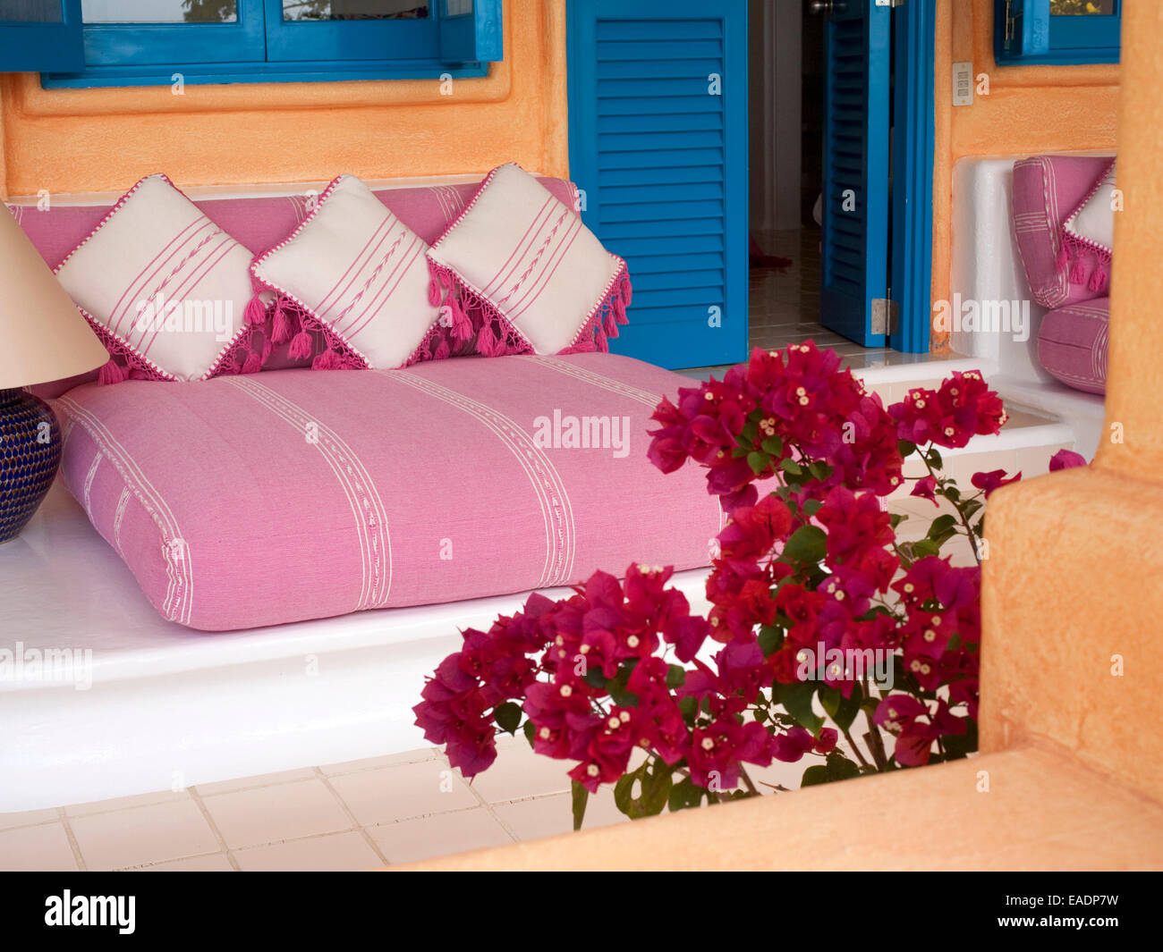 Latin American style decorative seating in outdoor space - Stock Image