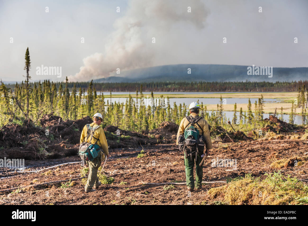 Preparations for a controlled burn at the Eagle Trail forest fire near Tok, Alaska, Interior Alaska - Stock Image