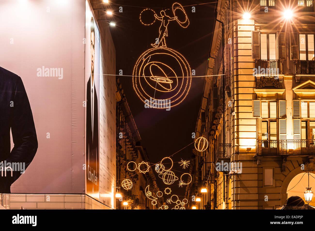 "Turin, Italy. 12th Nov, 2014. Italy Piedmont Turin "" Luci d'Artista"" in Via Garibaldi - Palomar - By Giulio Paolini Stock Photo"