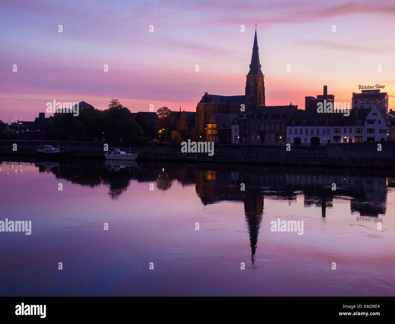Silhouette of the St. Martinus church tower in Maastricht, The Netherlands, Europe - Stock Image