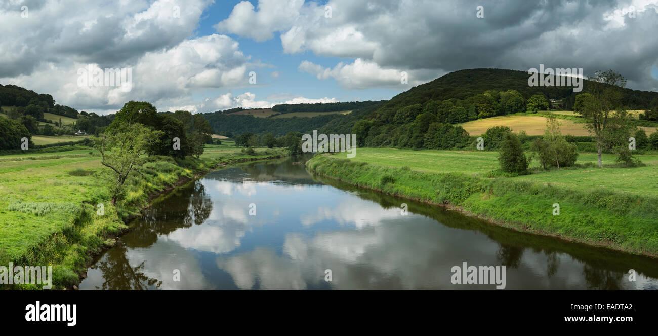 The River Wye from Bigsweir Bridge near Llandogo, Monmouthshire. Stock Photo