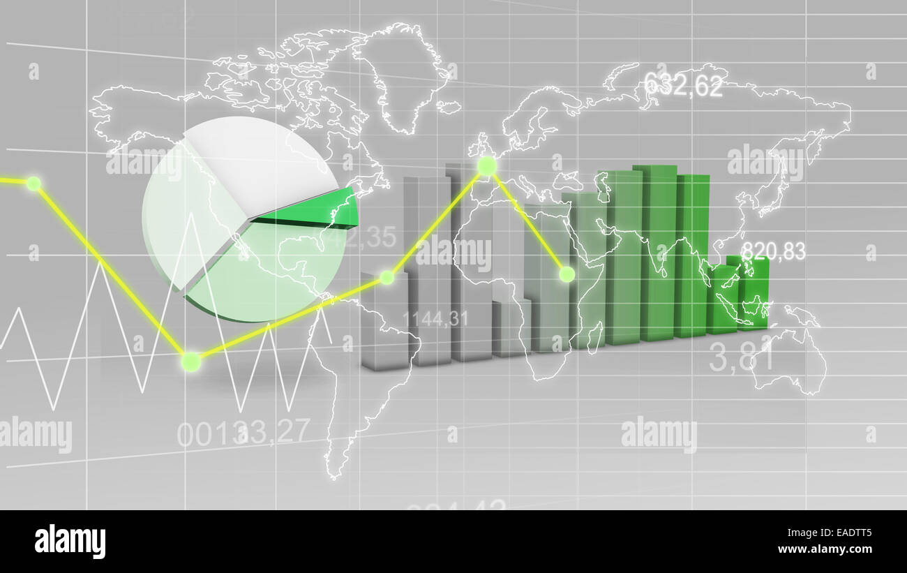 World Map Statistic Data Graph Green Finance 3D Background - Stock Image