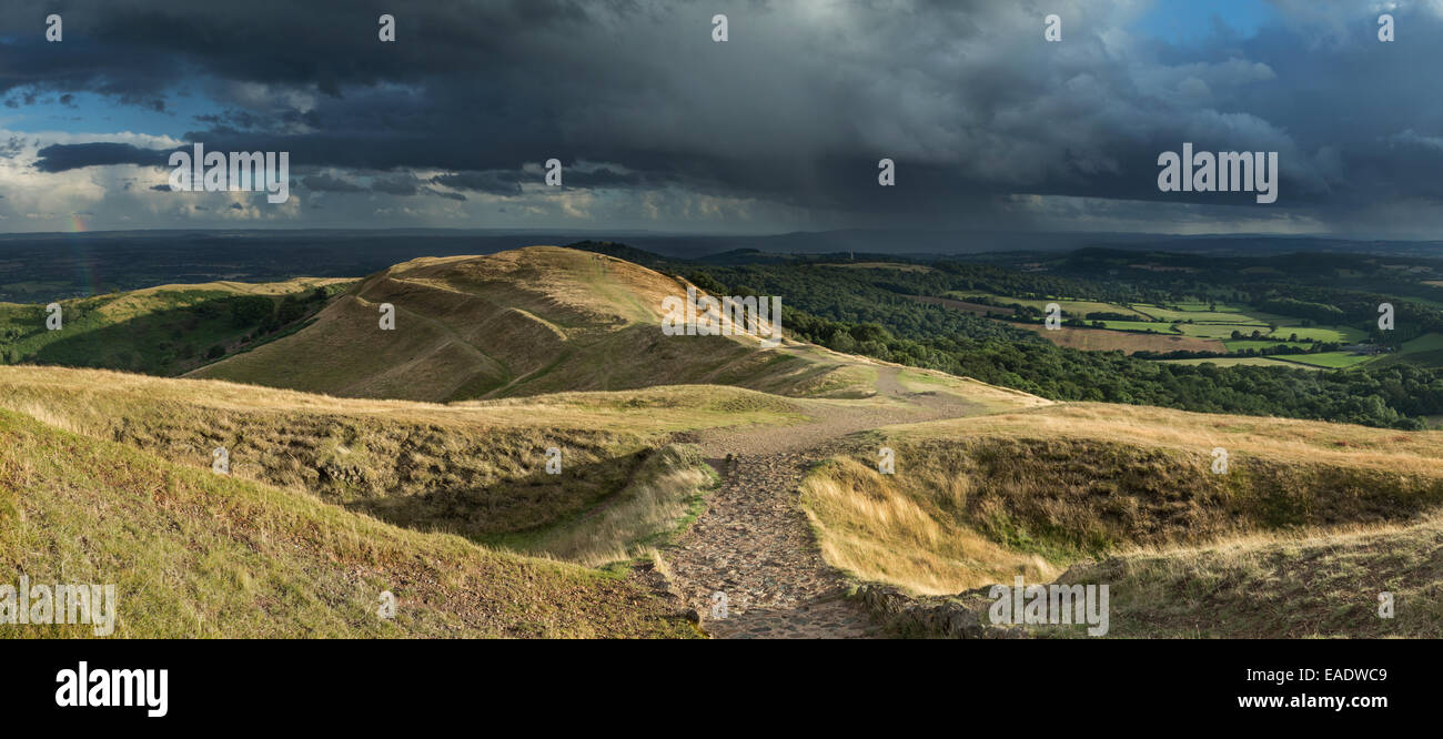 A footpath leading from British Camp towards Millenium Hill part of the Malvern Hills, Herefordshire. Stock Photo