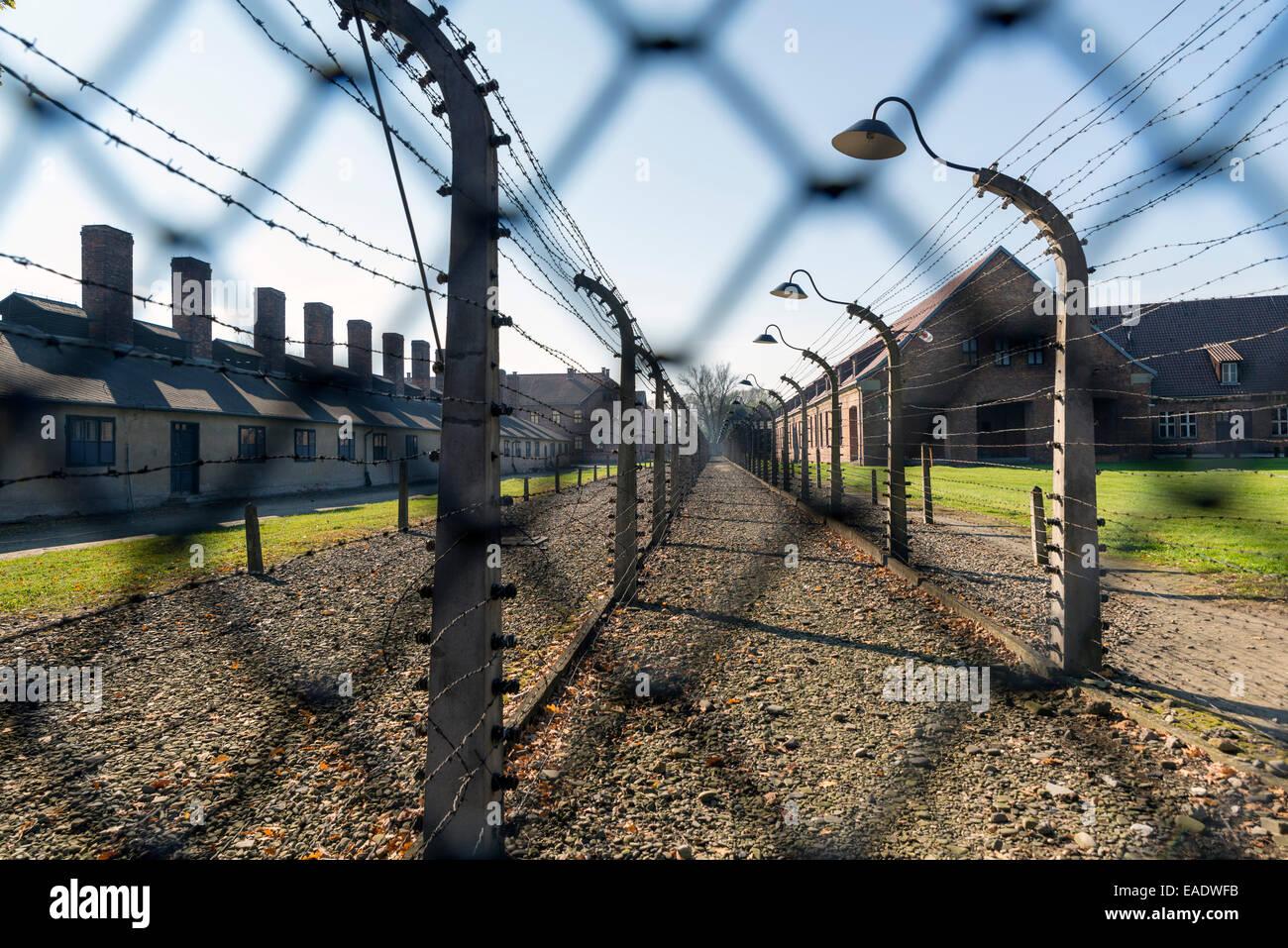 AUSCHWITZ, POLAND - OCTOBER 25, 2014: Auschwitz Camp, a former Nazi extermination camp  in Oswiecim, Poland. It - Stock Image