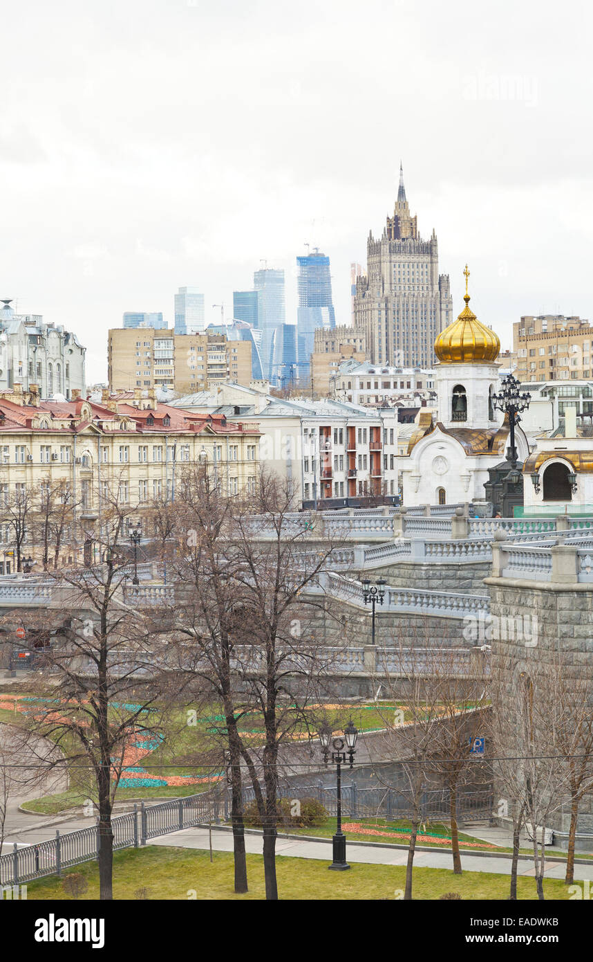 Moscow cityscape with church, Moscow City and Kudrinskaya Square skyscraper in autumn day Stock Photo