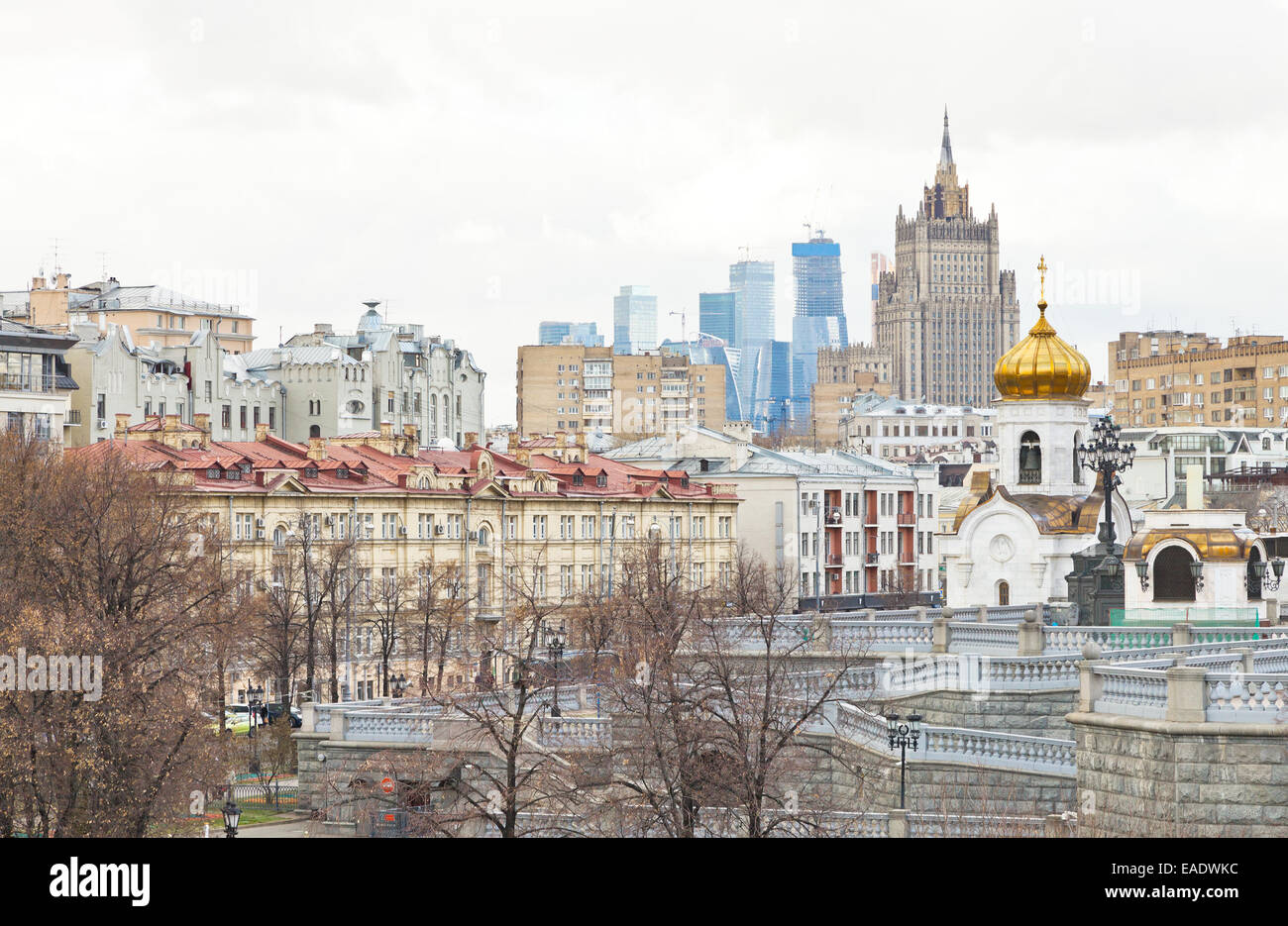 Moscow skyline with cathedral, Moscow City and Kudrinskaya Square skyscraper in autumn day Stock Photo