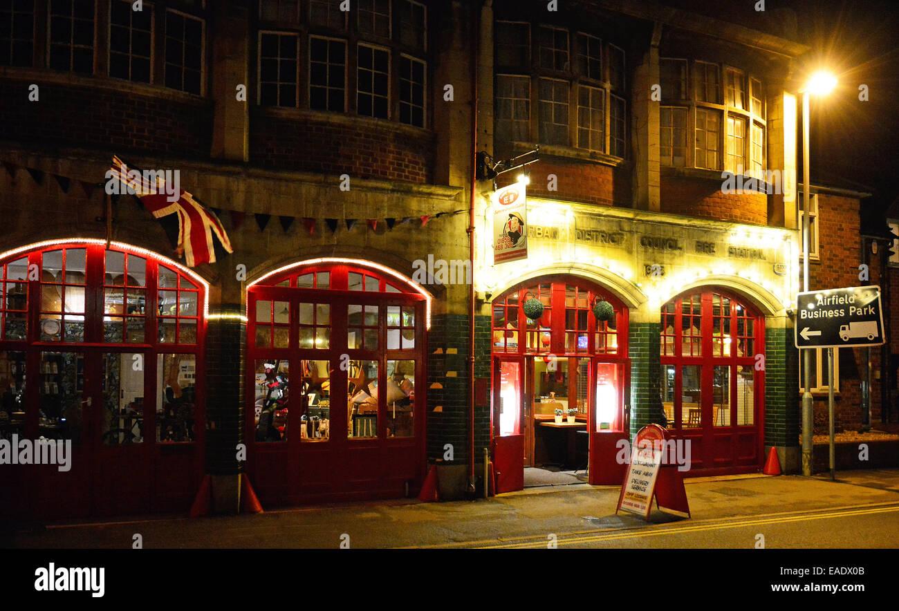 The old fire station at Market Harborough, Leics., at night, 12th November 2014. - Stock Image