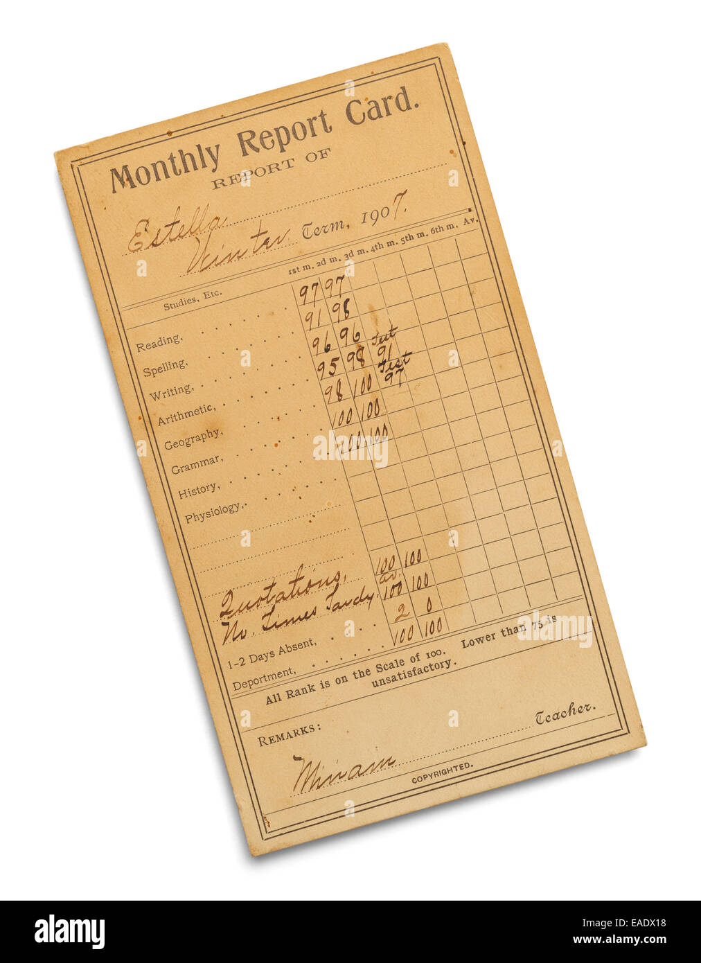 Old Aged Monthly Report Card Isolated on White Background. - Stock Image