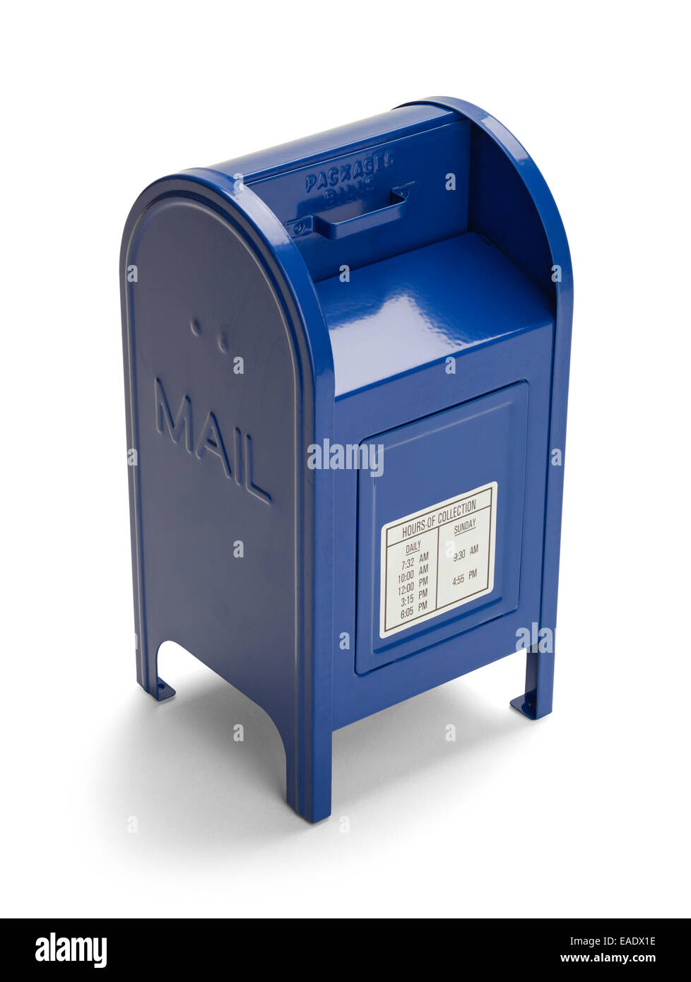 Metal Blue Postal Mail Box Isolated on White Background. - Stock Image