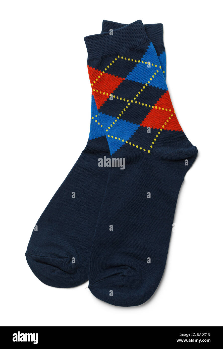 Pair of Blue Socks Isolated on White Background. - Stock Image