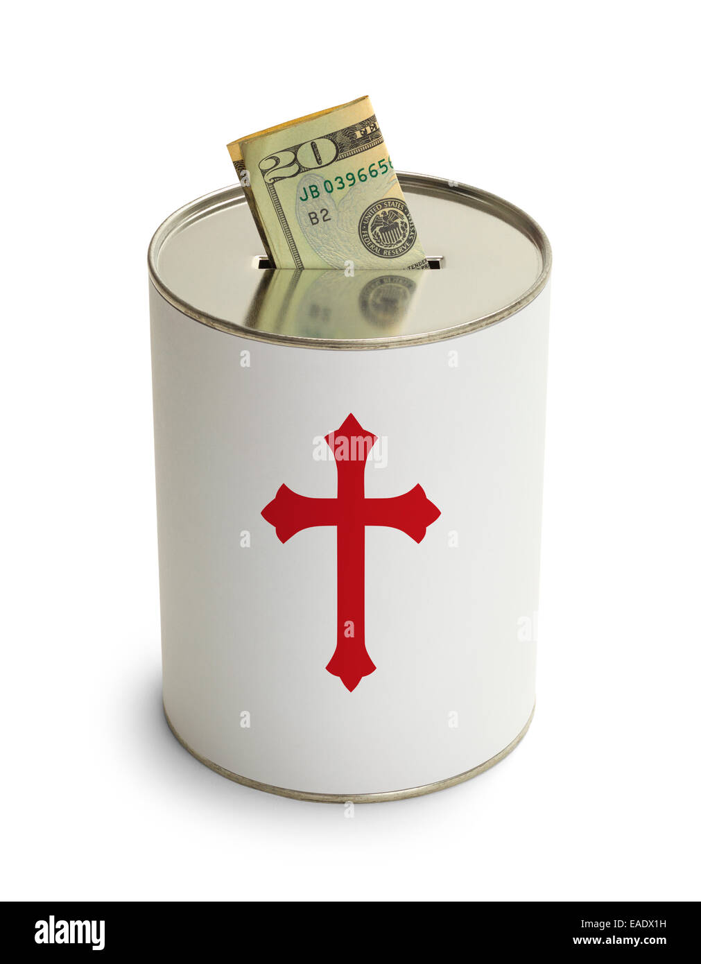 Church Donation Can with Cross and Money Isolated on White Background. - Stock Image