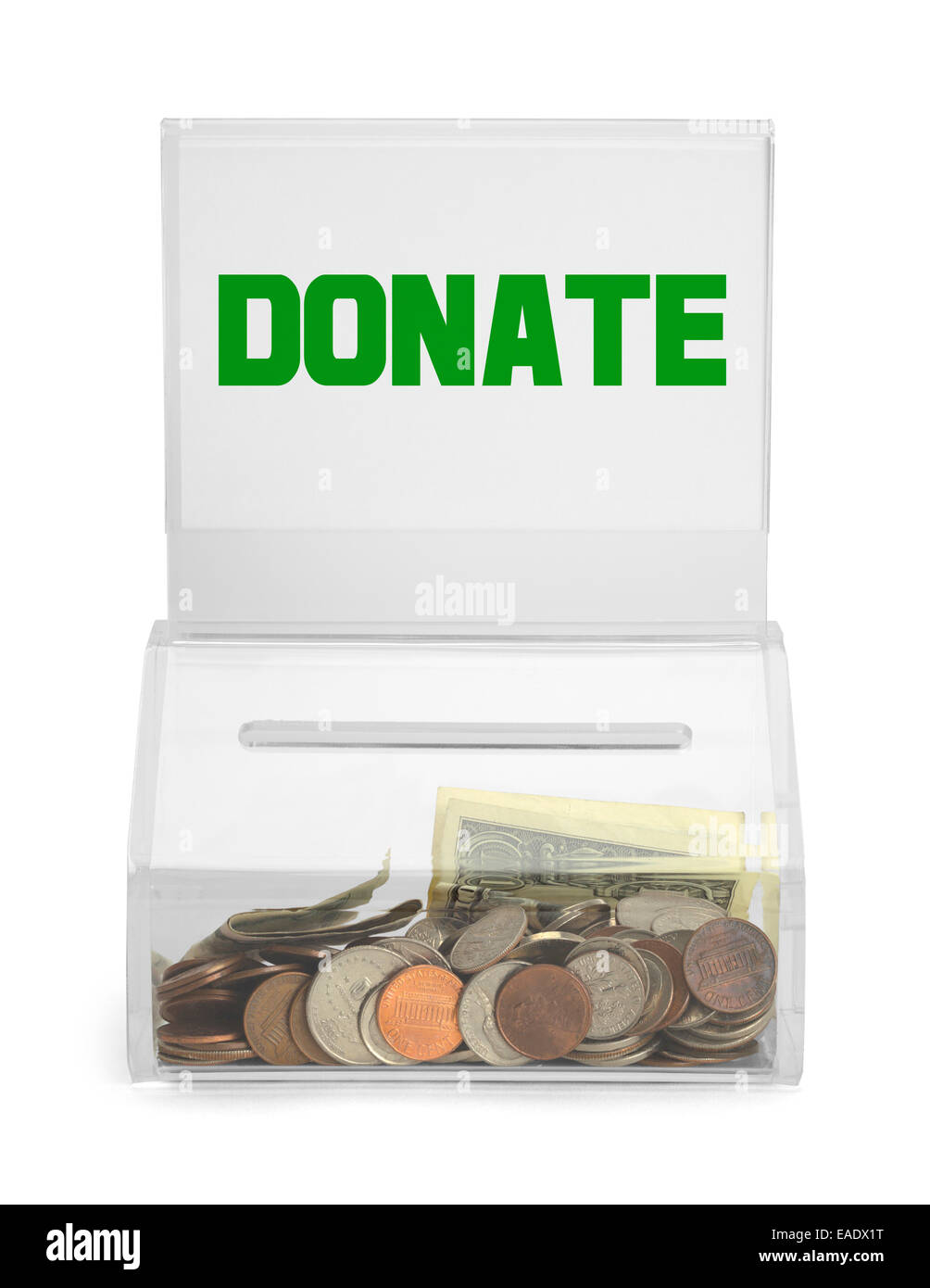 Clear Plastic Donation Box With Money Isolated on White Background. - Stock Image