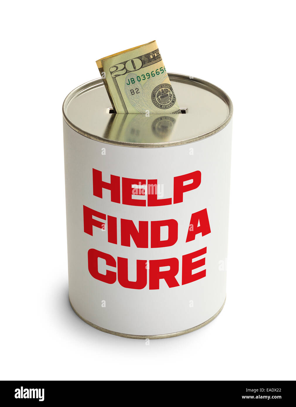 Find a Cure Donation Can Isolated on White Background. - Stock Image