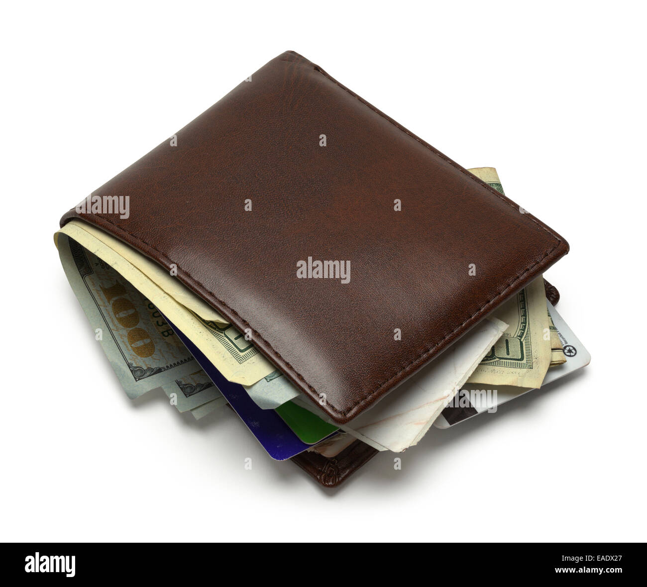Brown Wallet Full and Messy Isolated on White Background. - Stock Image