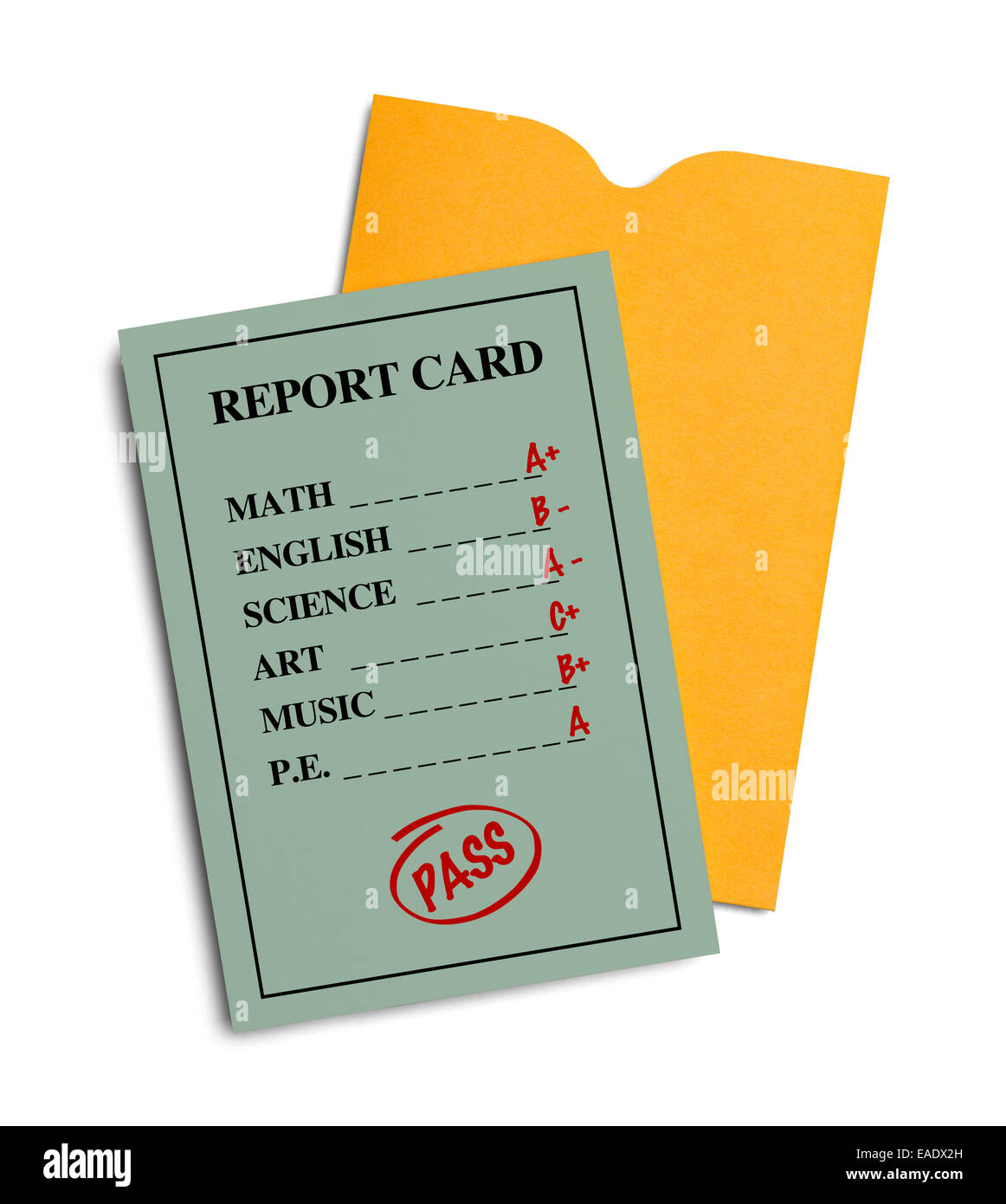 New Green Report Card With Yellow Envelope Isolated on White Background. - Stock Image