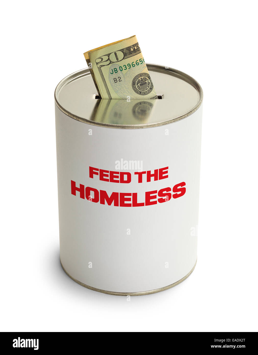 Feed The Homeless Donation Can Isolated on White Background. - Stock Image