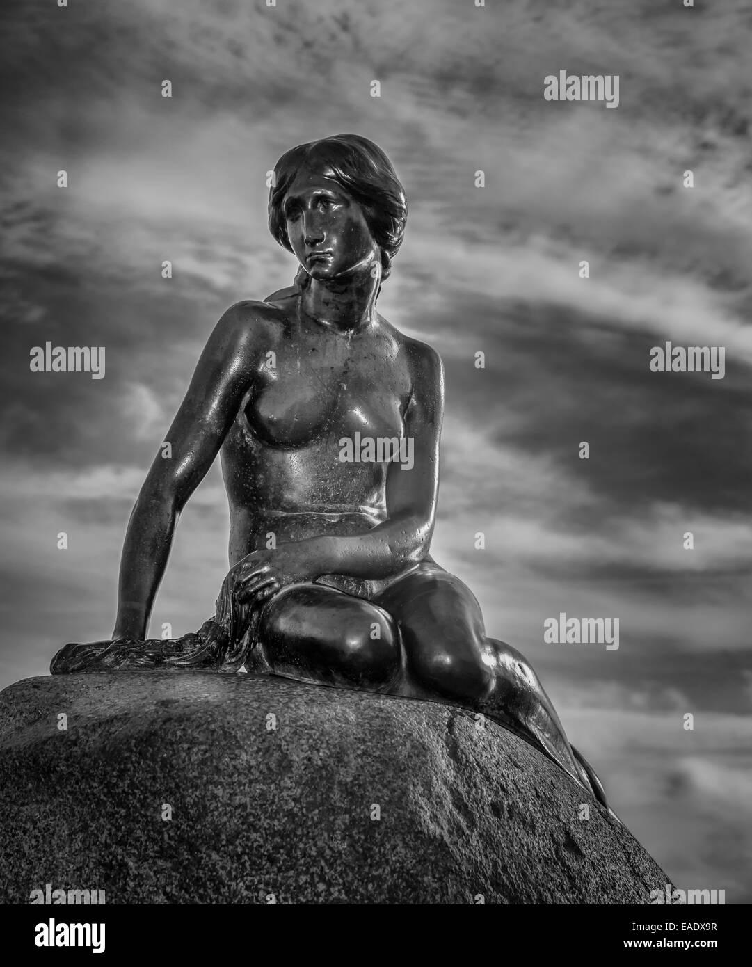 The Mermaid, sculpture, landmark of Copenhagen, Copenhagen Harbour, Copenhagen, Denmark - Stock Image