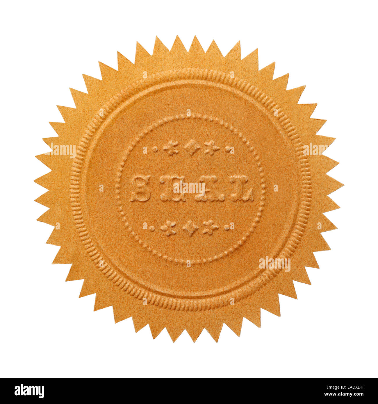 Large Embossed Gold Seal With Copy Space Isolated on White Background. - Stock Image