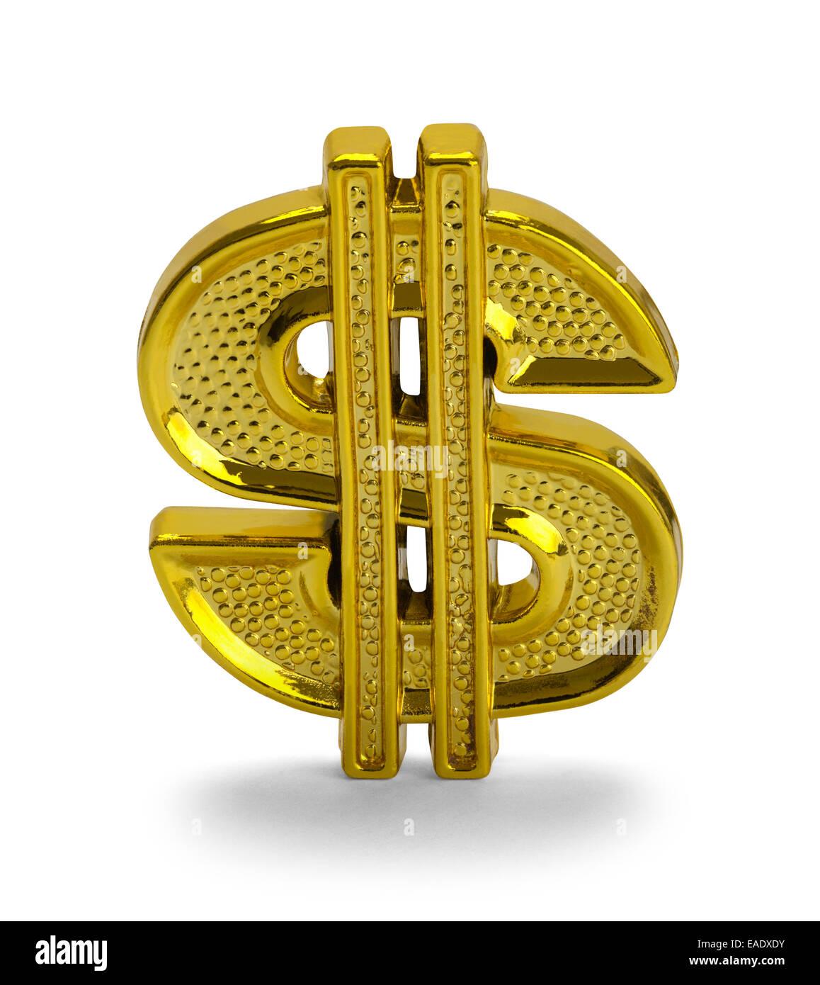 Gold Dollar Symbol Isolated on White Background. - Stock Image