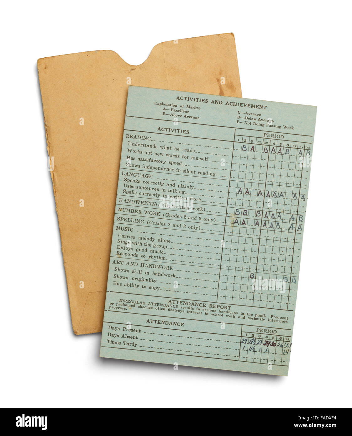 Green Aged Report Card With Yellow Envelope Isolated on White Background. - Stock Image