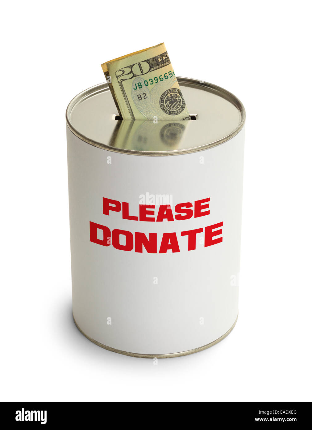 Please Donate Can with Money Isolated on White Background. - Stock Image