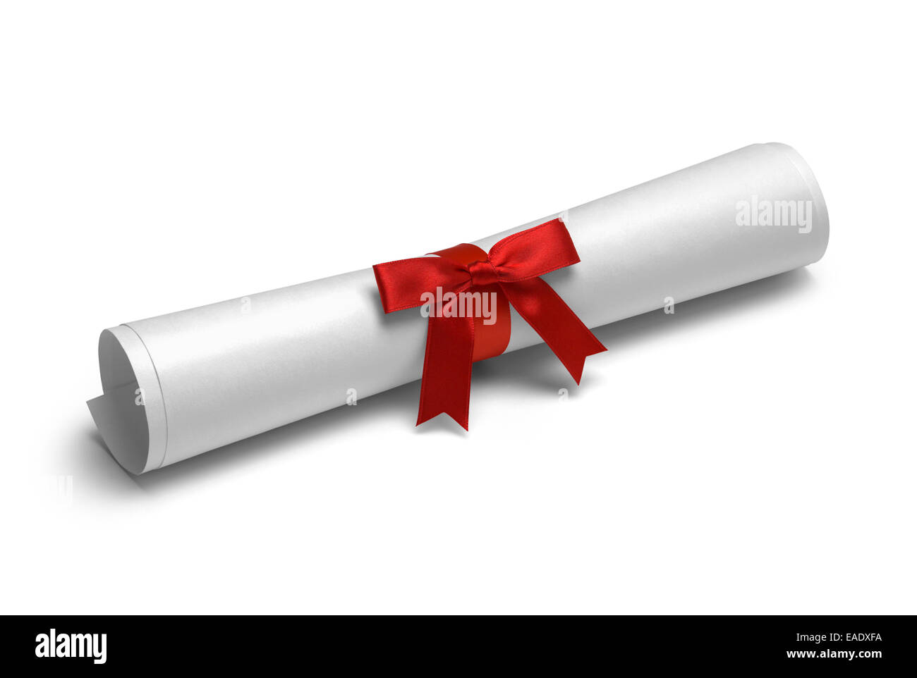School Degree with Red Ribbon Isolated on White Background. - Stock Image