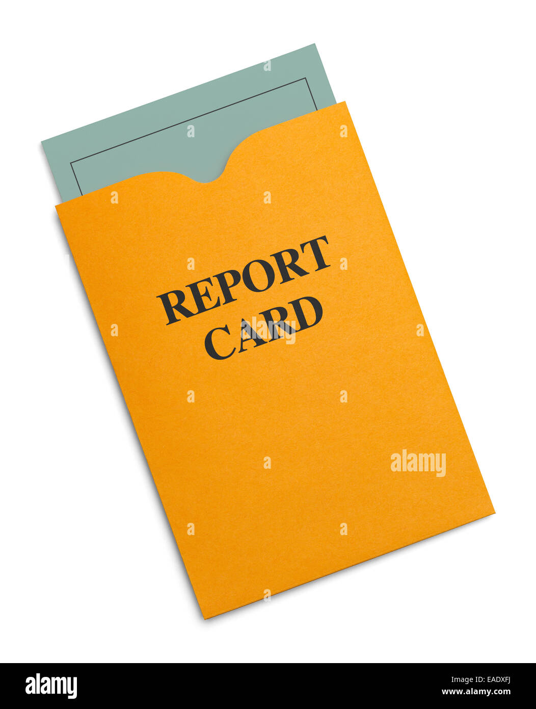 New Green Report Card Inside Yellow Envelope Isolated on White Background. - Stock Image