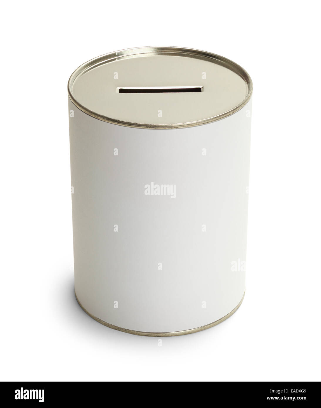White Donation Can With Copy Space Isolate on White Background. - Stock Image