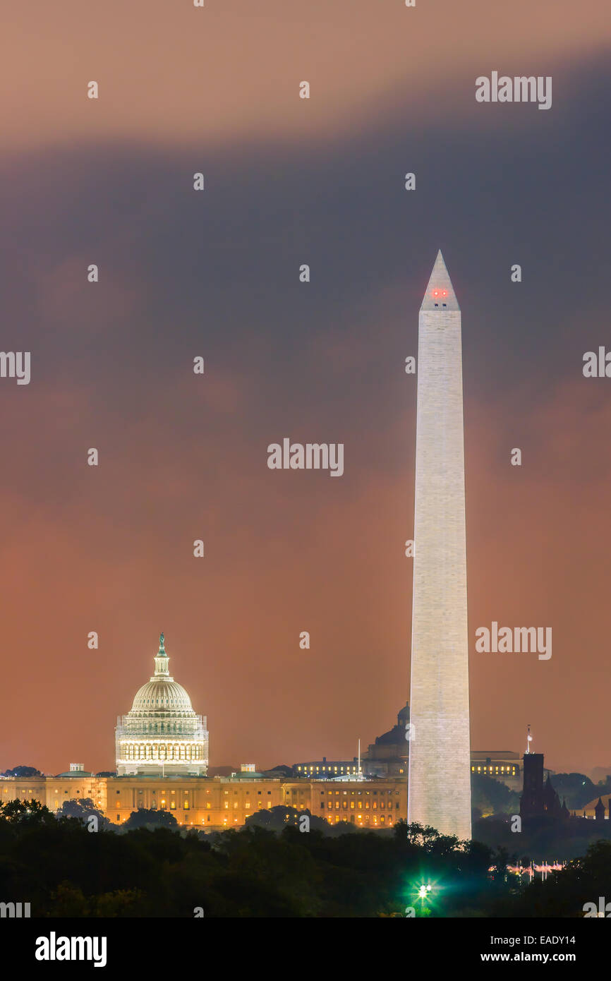 Washington Monument and Capitol in Washington DC. - Stock Image