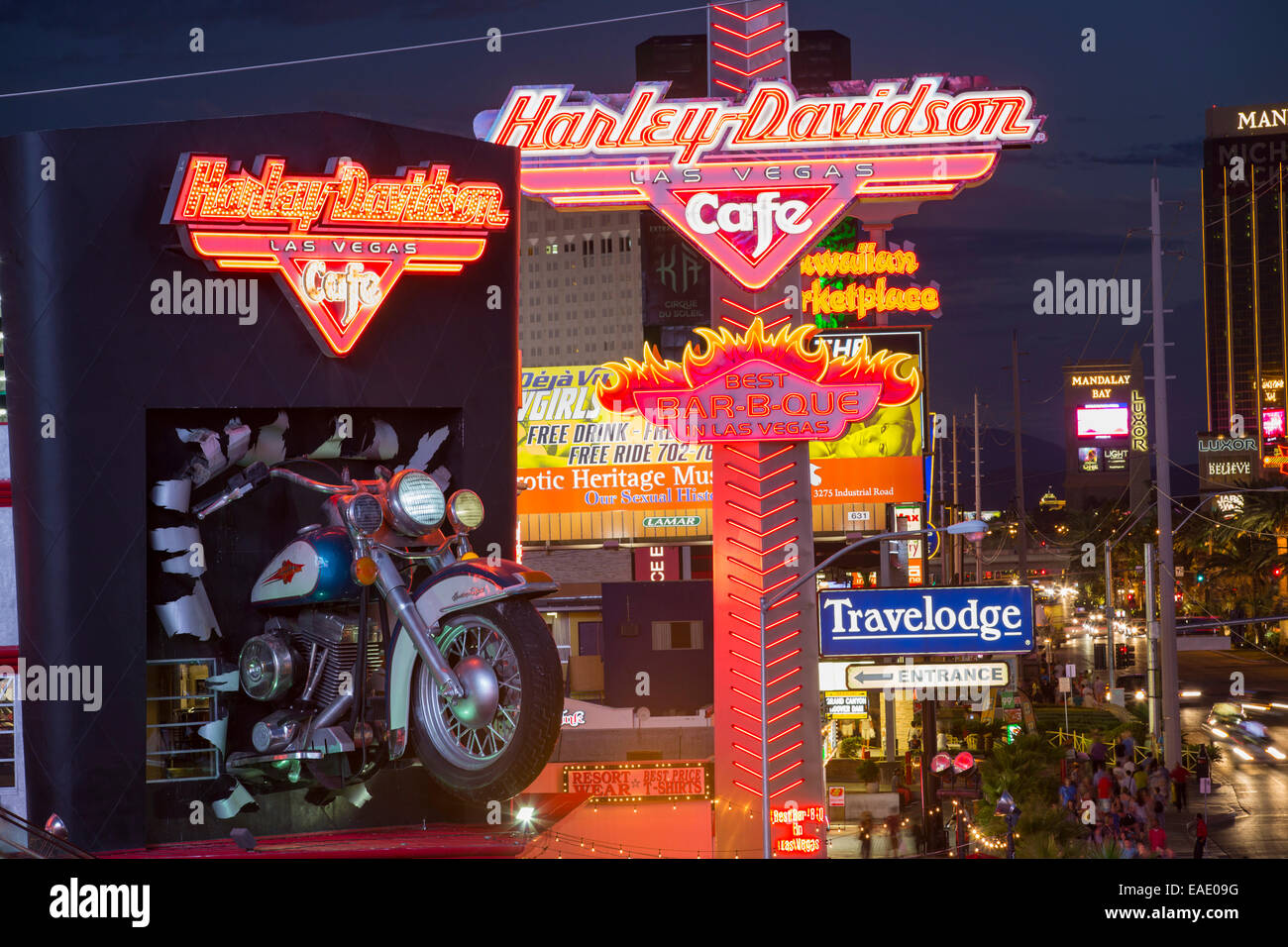 The Harley Davidson Cafe on Las Vegas boulevard at dusk, Las Vegas, Nevada, USA, probably the most unsustainable - Stock Image