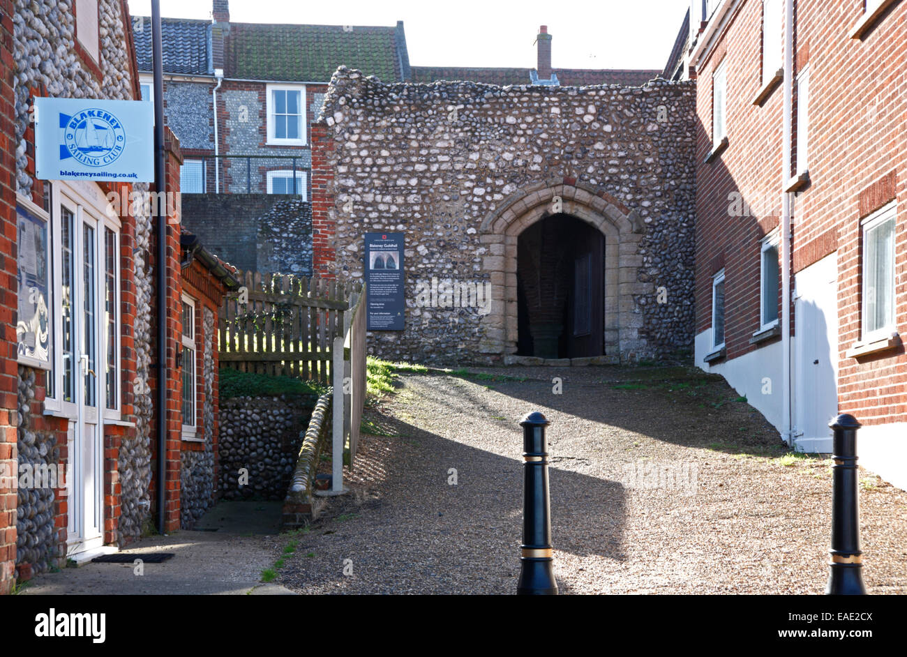 A view of the north side of the old Guildhall at Blakeney, Norfolk, England, United Kingdom. - Stock Image