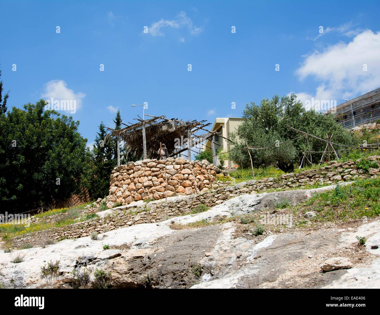 Open air museum depicting village life at the time of Jesus showing the sentry at village entrance, Nazareth village, - Stock Image