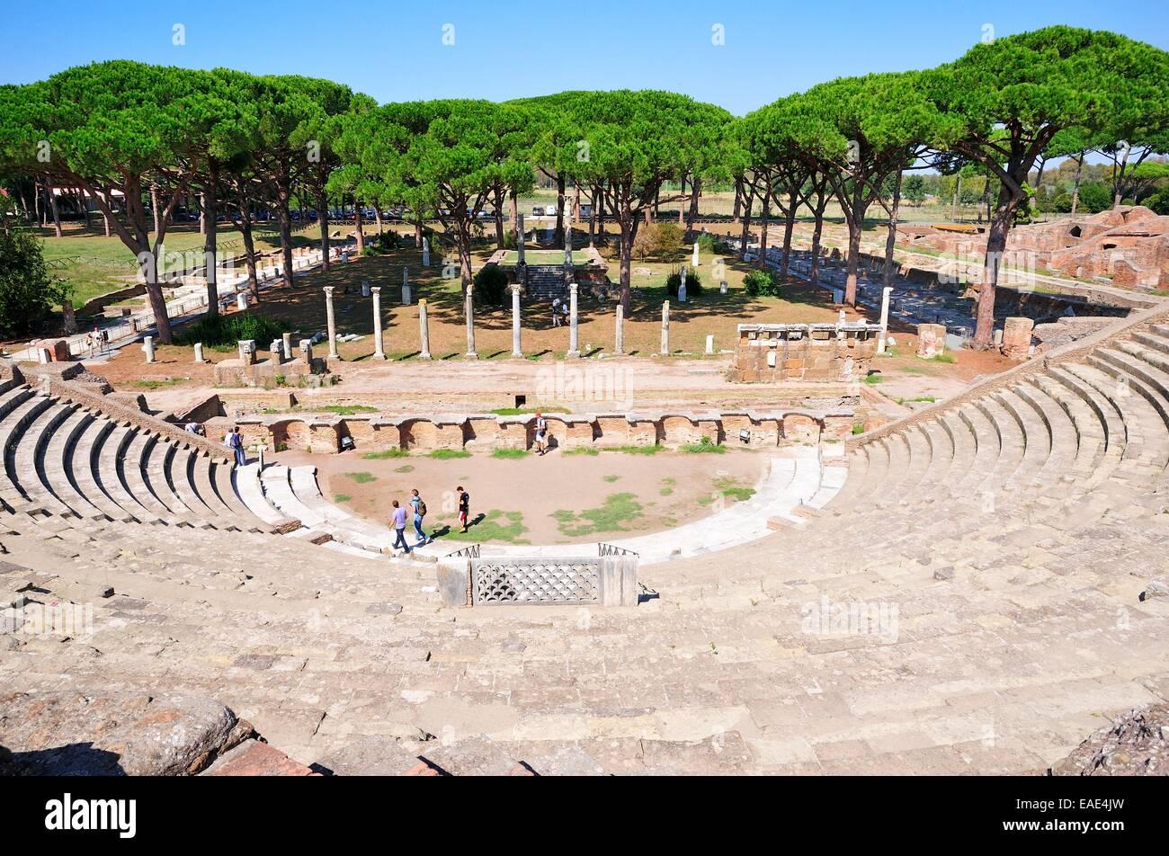 Roman Amphitheater, Ostia Antica, Rome, Lazio, Italy - Stock Image