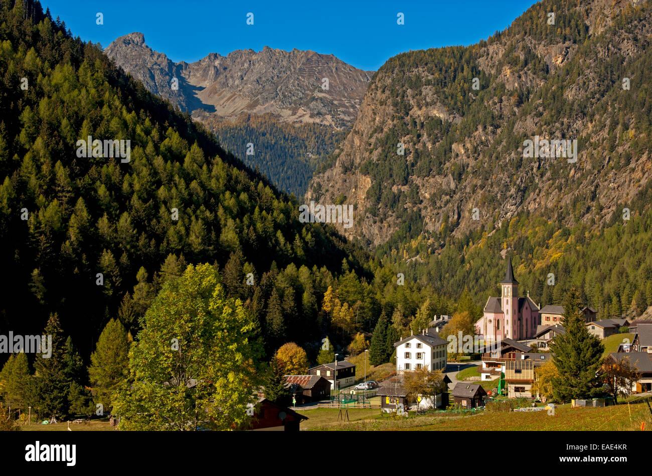Community of Trent at La Forclaz Pass, Trient, Martigny district, Canton of Valais, Switzerland - Stock Image