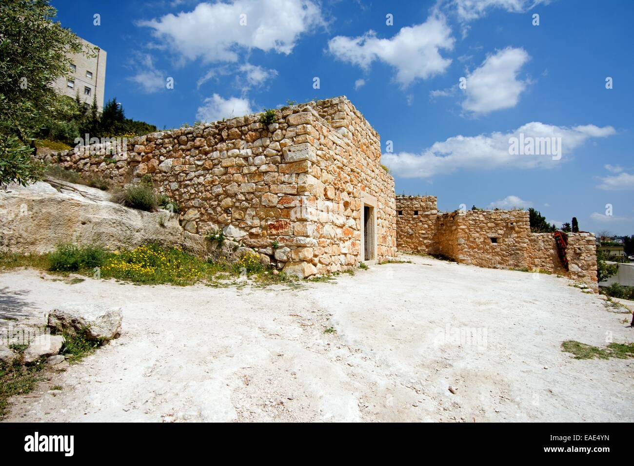 Open air museum depicting village life at the time of Jesus showing ruins of village buildings, Nazareth village, - Stock Image