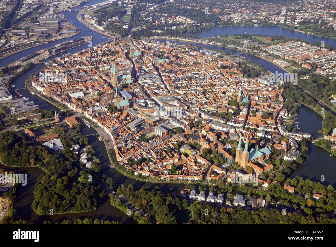 town centre of luebeck surrounded by the trave river aerial view stock photo 75299422 alamy. Black Bedroom Furniture Sets. Home Design Ideas