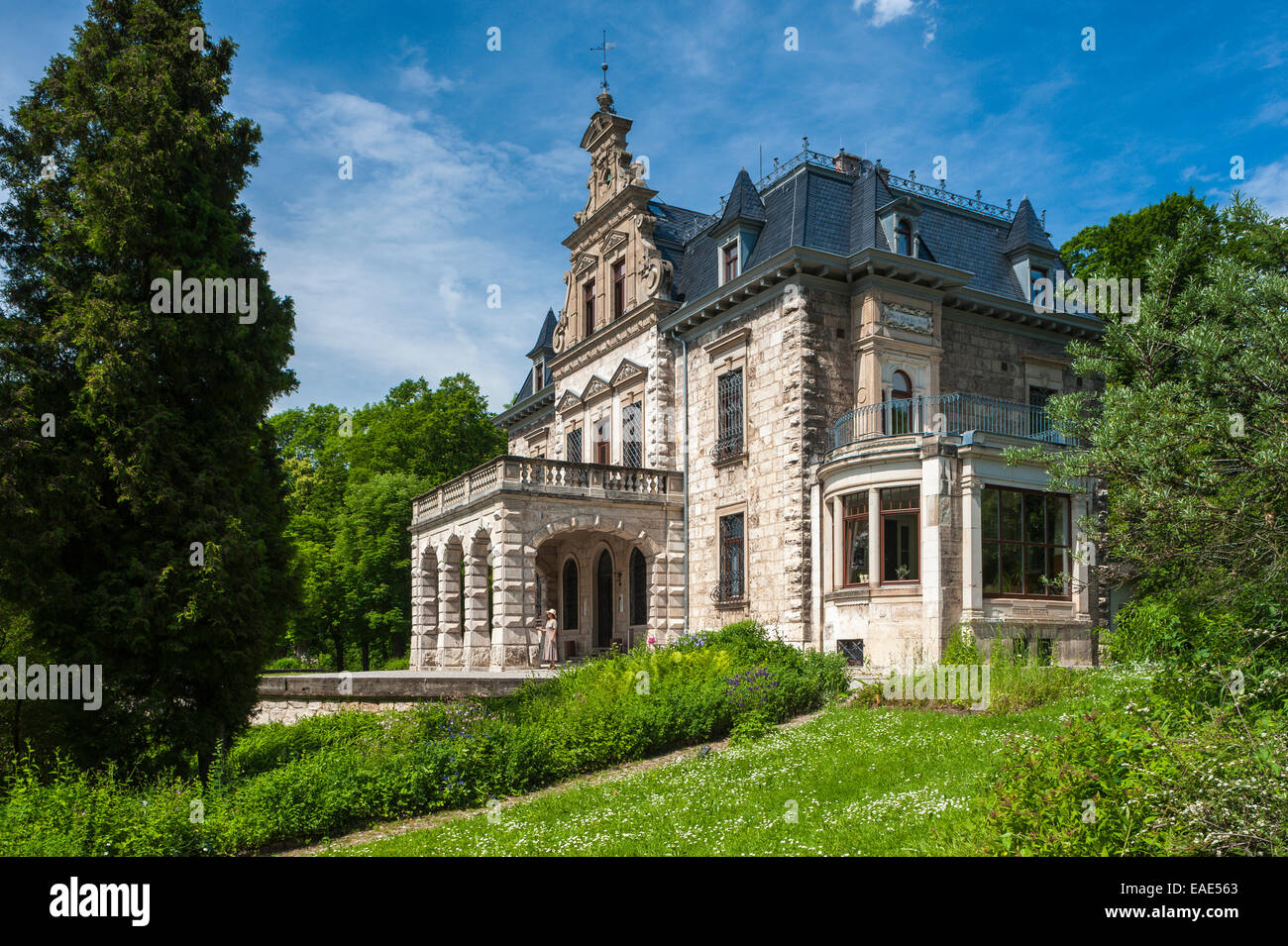 Villa Haar with park, neo-Renaissance building, 1885, now an event and conference venue, Ilm Park, Weimar, Thuringia, - Stock Image