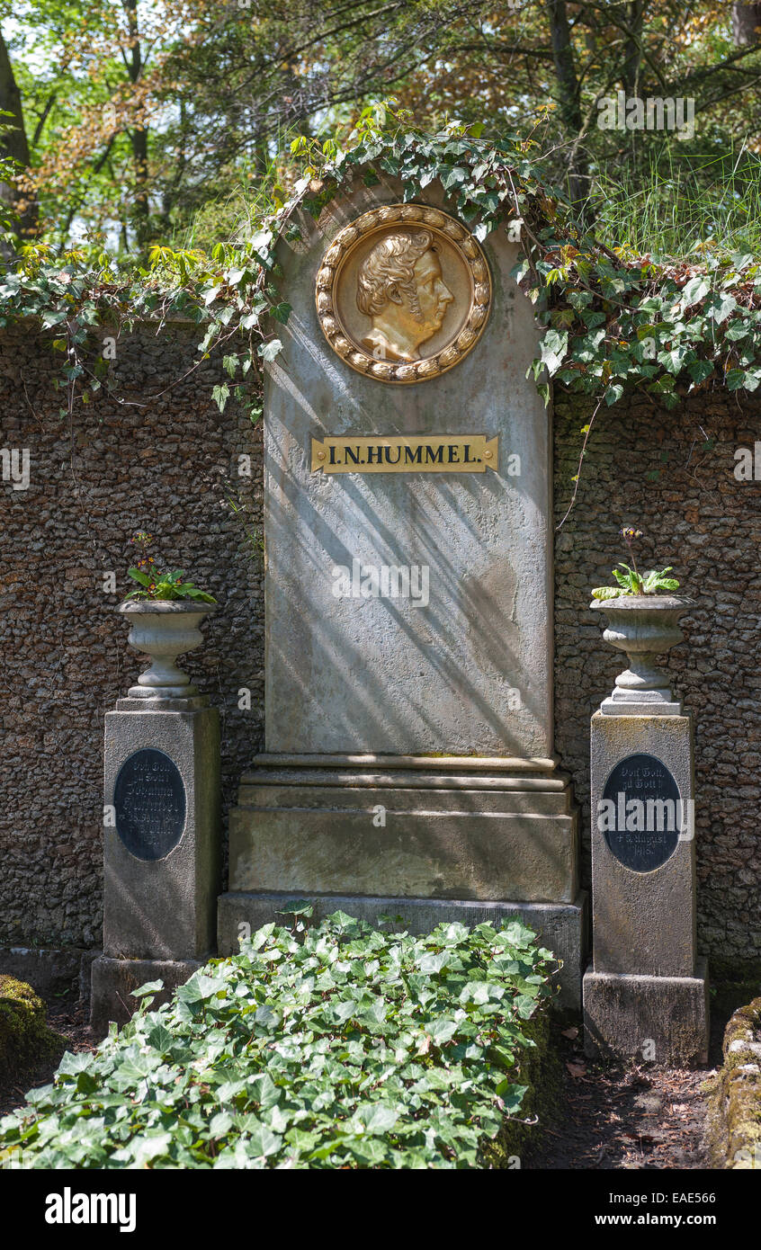 Grave of Johann Nepomuk Hummel, Austrian composer and pianist, Historical Cemetery, Weimar, Thuringia, Germany - Stock Image