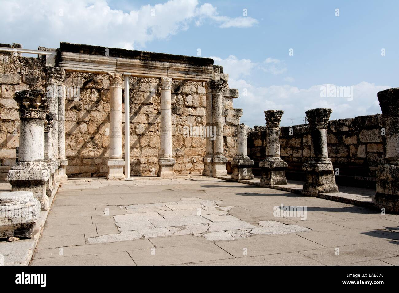 View of the Synagogue ruins, Capernaum, Galilee, Israel, Middle East. Stock Photo