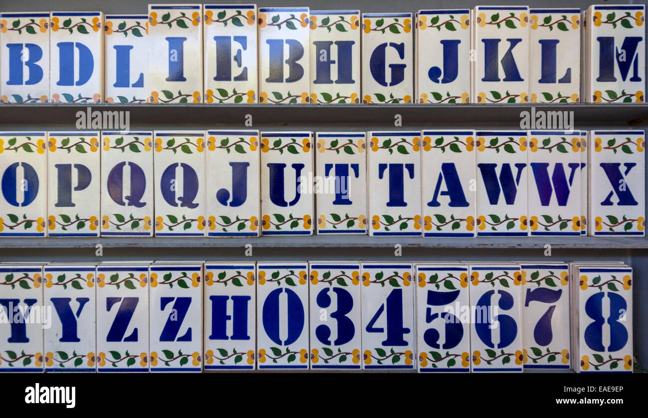 Letters and numbers on tiles, azulejos, historic center, Lisbon, Lisbon District, Portugal - Stock Image