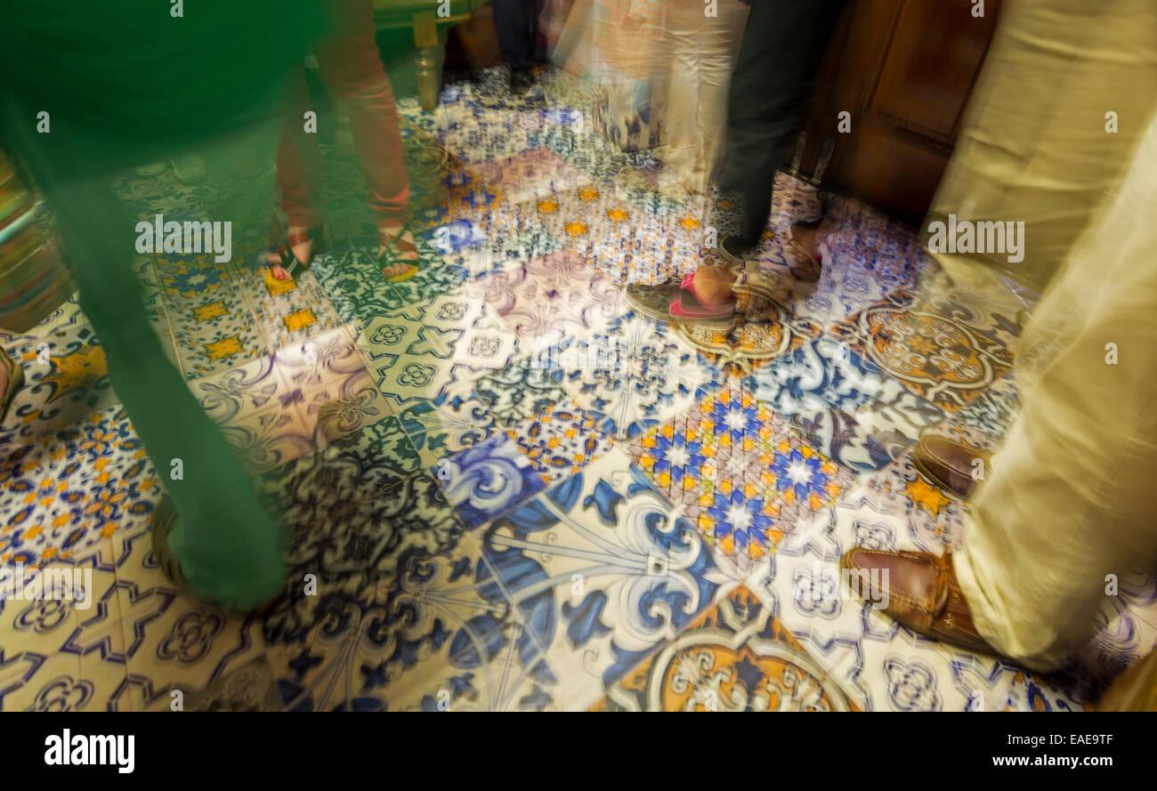 Santa Justa Elevator, Elevador de Santa Justa or Elevador do Carmo, interior, azulejos tiles, Baixa, Lisbon, Lisbon - Stock Image