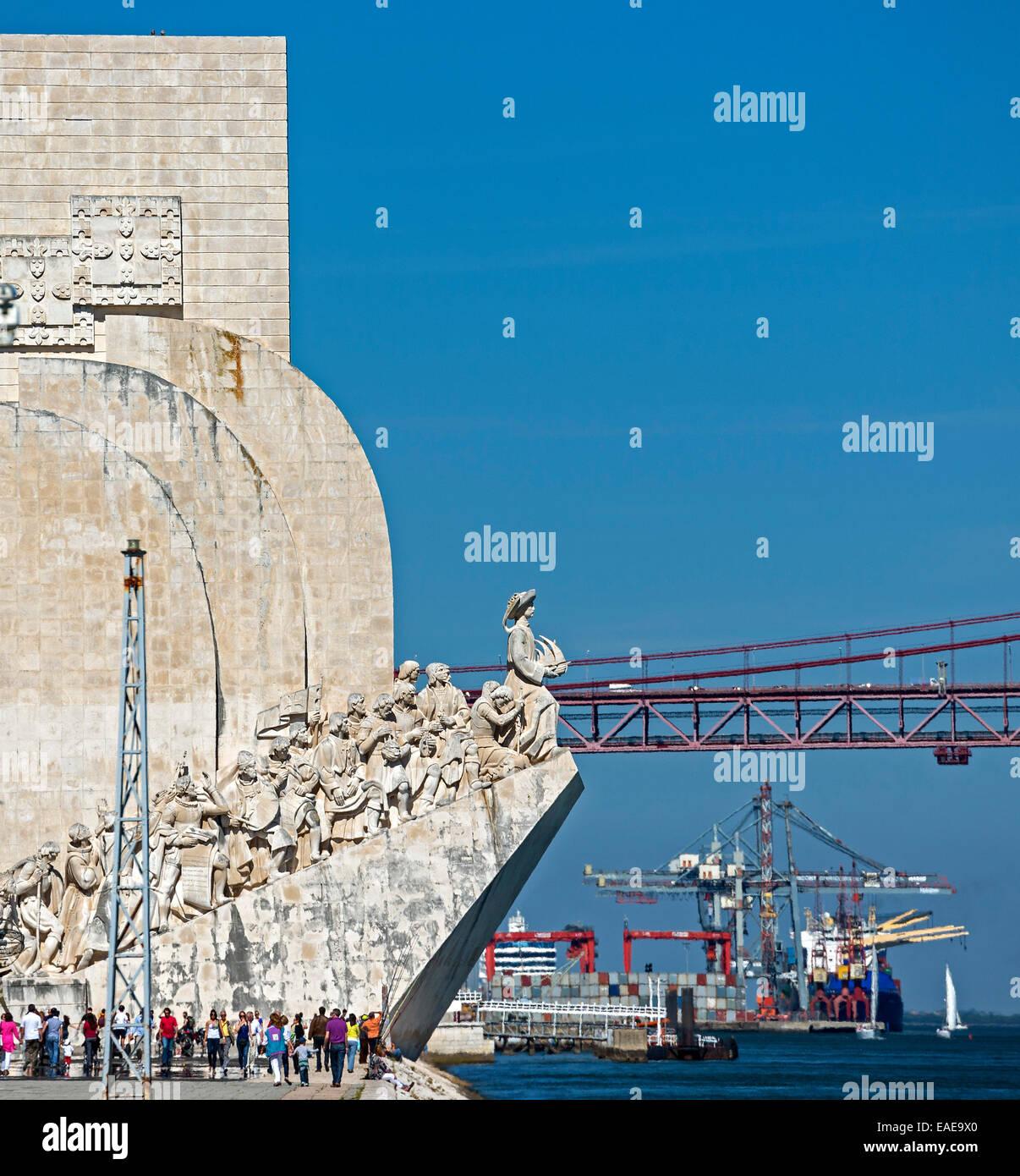 Padrão dos Descobrimentos, Monument to the Discoveries, Ponte 25 de Abril, 25th of April Bridge, Belém, - Stock Image