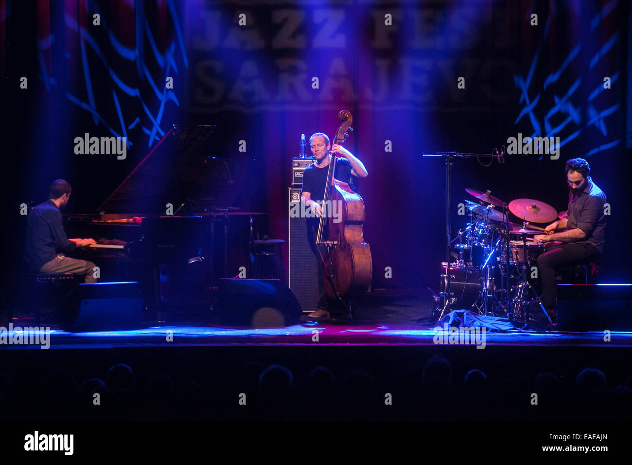 Israeli bassist Avishai Cohen performing with his trio on stage at the 18th Jazz Fest Sarajevo in 2014. - Stock Image