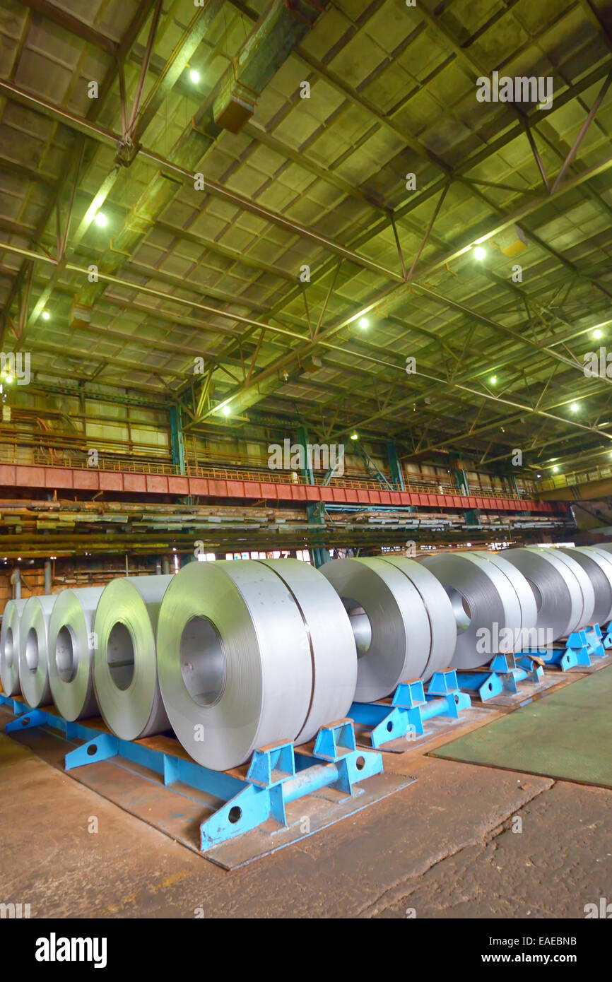 galvanized steel coil in a warehouse - Stock Image